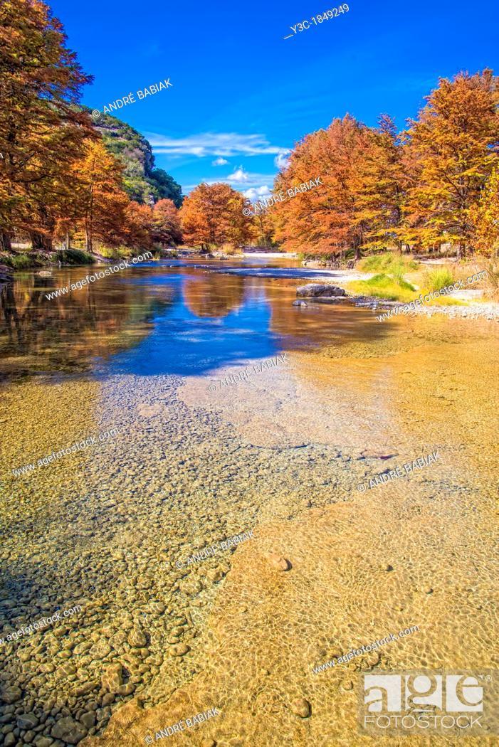 Stock Photo: The Frio River, Fall Season, Concan, Texas, USA.