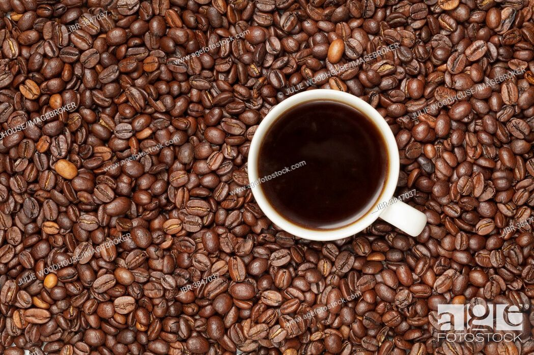 Stock Photo: Cup of coffee on coffee beans.