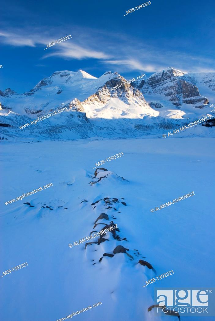 Stock Photo: Mount Athabasca and Mount Andromeda in winter seen from the glacial plain of the SunwaptaRiver, Jasper National Park Alberta Canada.