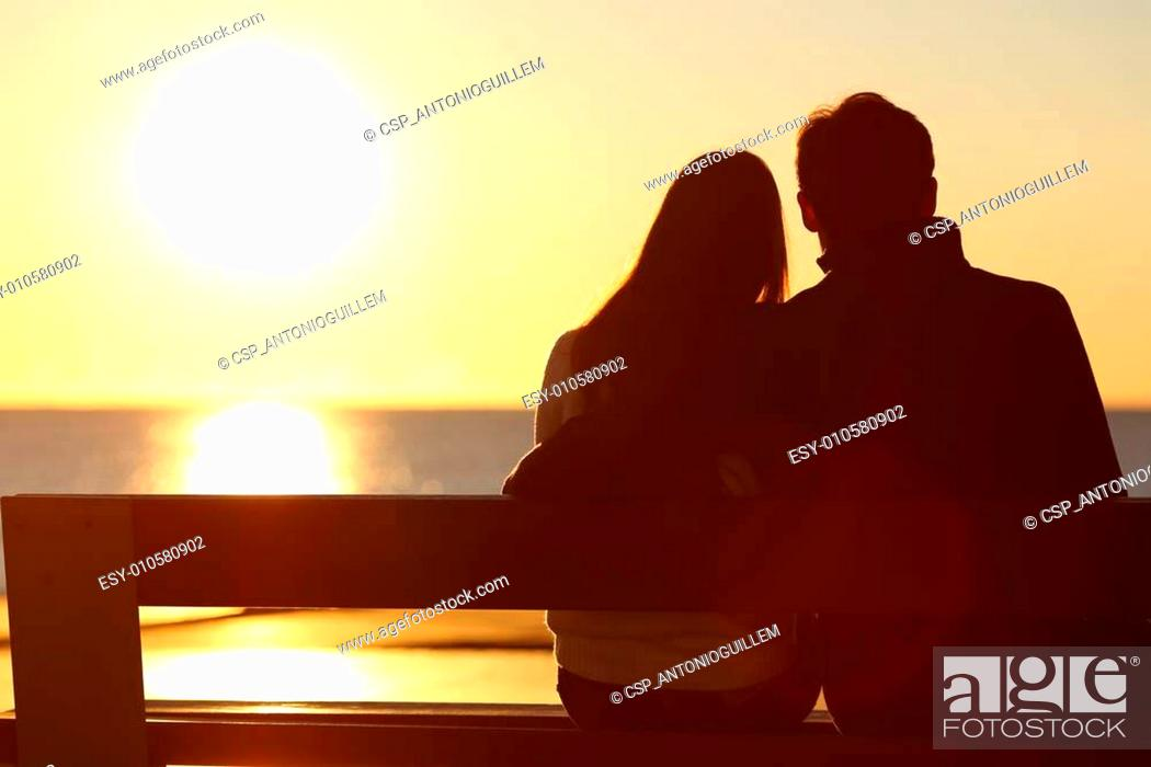 Stock Photo: Back view of a couple watching sun on the beach.