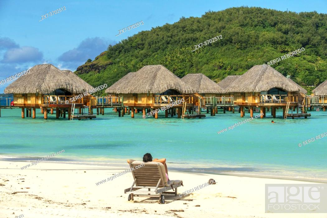 Stock Photo: Le Bora Bora by Pearl Resorts luxury resort in motu Tevairoa island, a little islet in the lagoon of Bora Bora, Society Islands, French Polynesia, South Pacific.