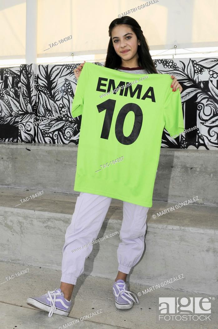 Stock Photo: PUEBLA, MEXICO – DECEMBER 19: Actress Cassandra Iturralde poses for photos during the press conference 'Emma en Los Olivos' at  Los Olivos Football Club on.