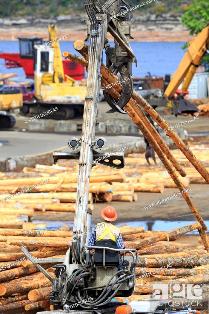 Stock Photo: Self loading logging truck operator loading logs at sawmill, Ladysmith, Vancouver Island, British Columbia.