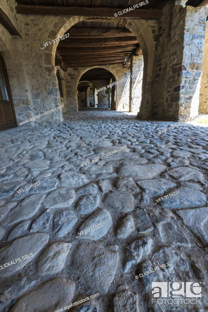 Stock Photo: The ancient arcade of the market in Cornello dei Tasso, along Via Mercantorum, Val Brembana, Province of Bergamo, Orobie alps, Italian alps, Italy.