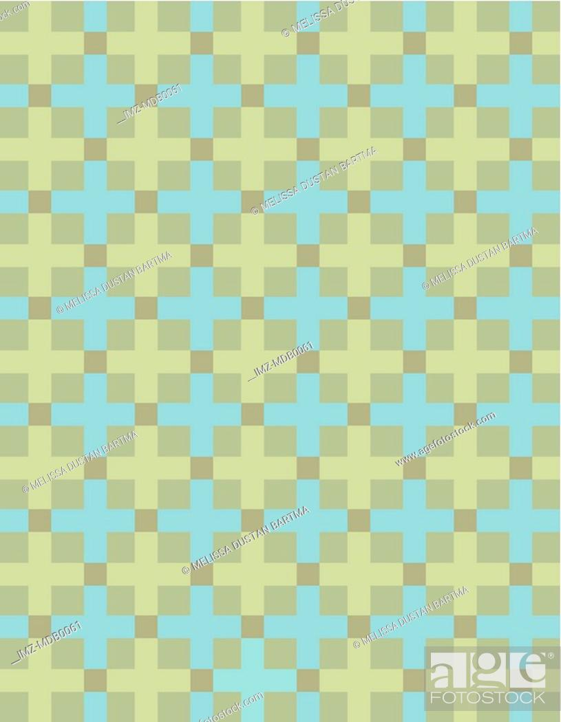 Stock Photo: Green and blue crosses on an olive background.