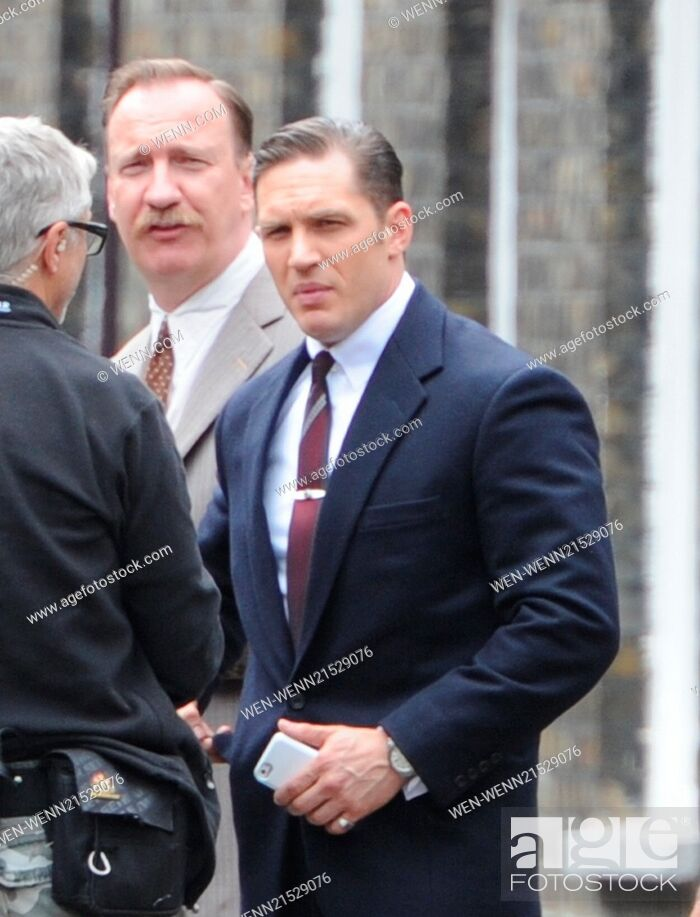 Stock Photo: Tom Hardy filming on the set of his new movie 'Legend' in London Featuring: Tom Hardy, David Thewlis Where: London, United Kingdom When: 08 Jul 2014 Credit:.