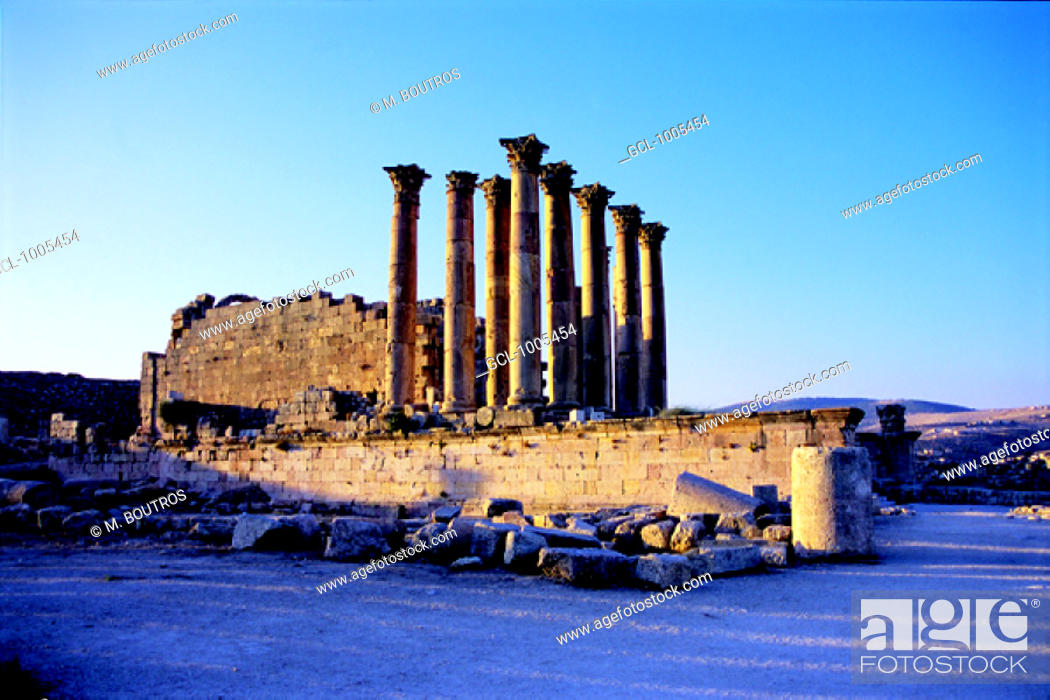 Stock Photo: Roman Temple of Artemis, Jerash, Jordan (64 A.D.). About 500 meters above sea level, a convenient stopover point for all the caravans which would have been.