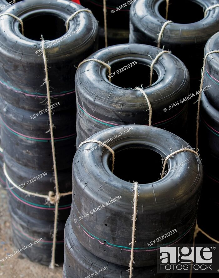 Stock Photo: Loads of new karts wheels tires unpacked.