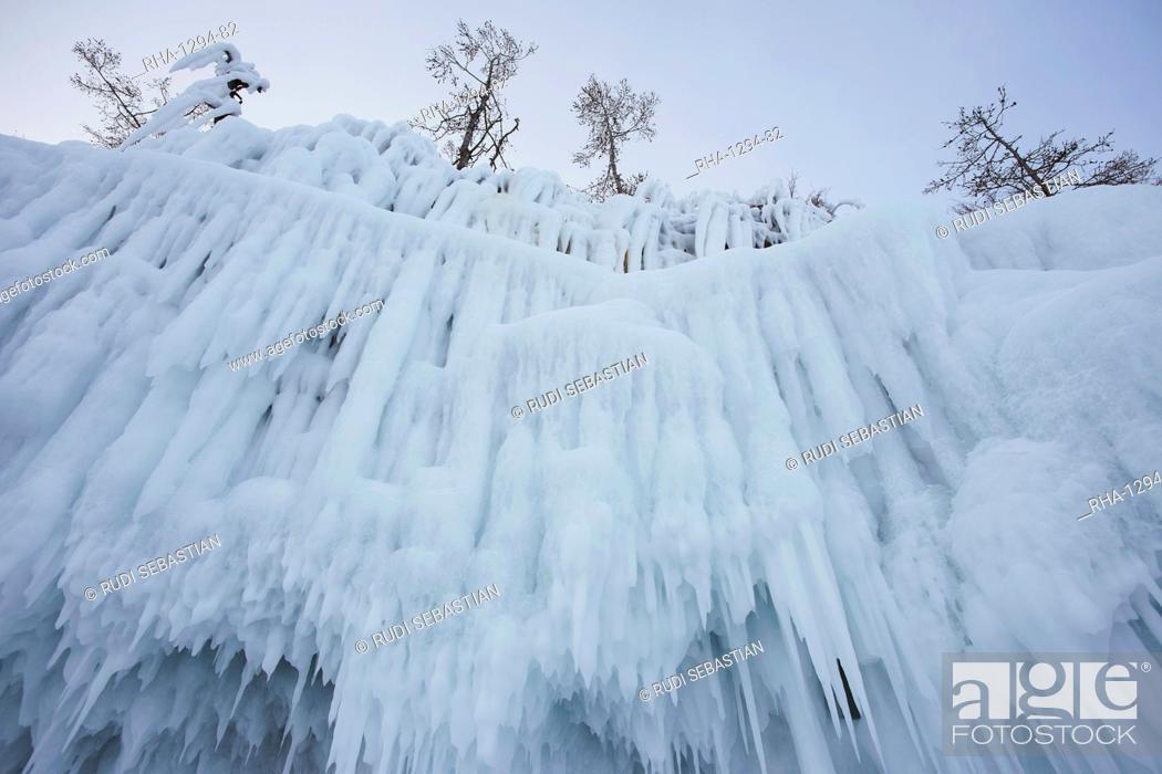 Stock Photo: Lake Baikal in winter ice, Siberia, Russia, Europe.