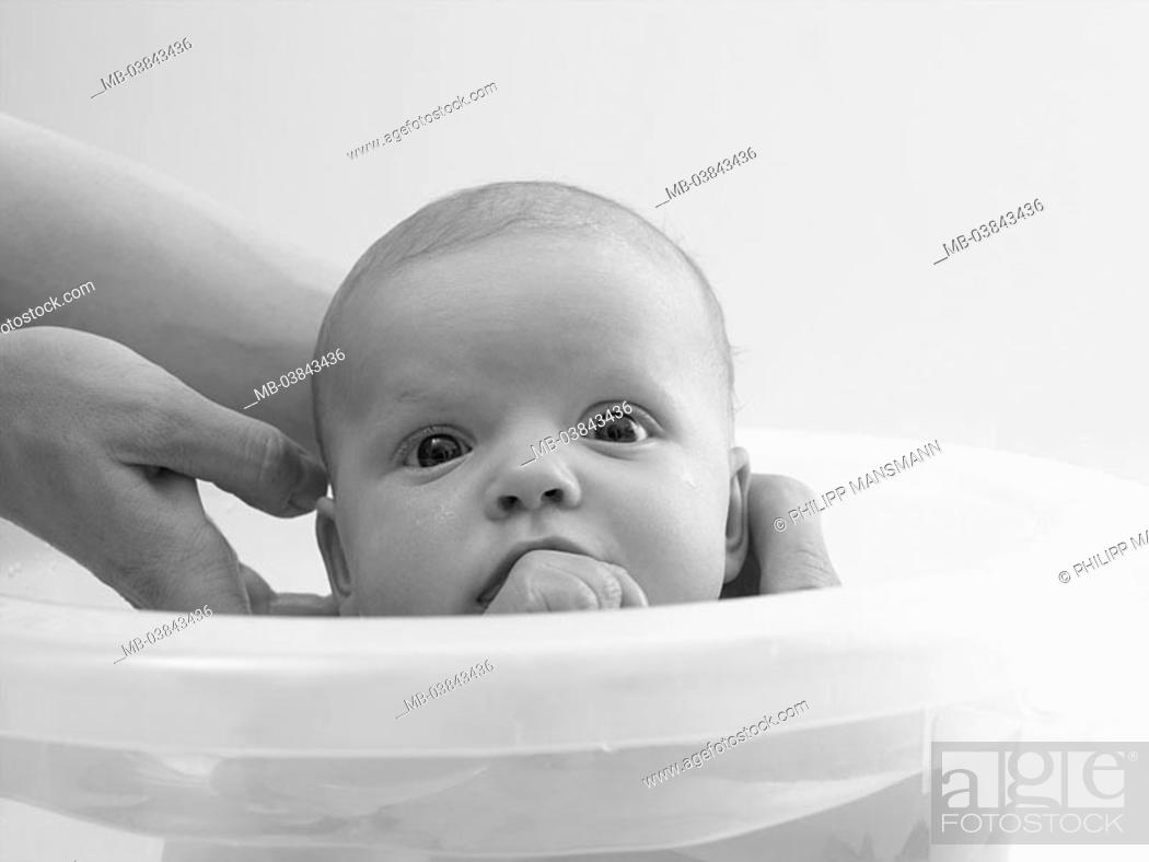 Mother, detail, hands, baby, bath-buckets, cleans, s/w, woman ...