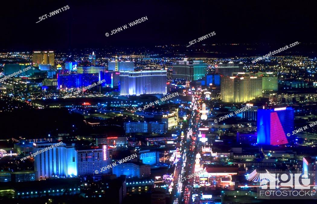Stock Photo: Aerial view of the Las Vegas strip with lights of hotels and casinos at night.
