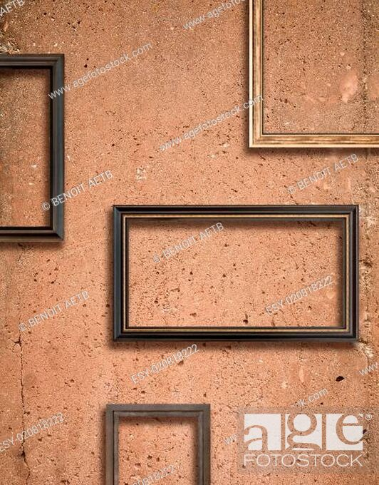 Stock Photo: Concrete texture and wooden frames.