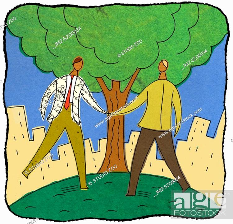 Stock Photo: Two businessmen shaking hands under a tree.