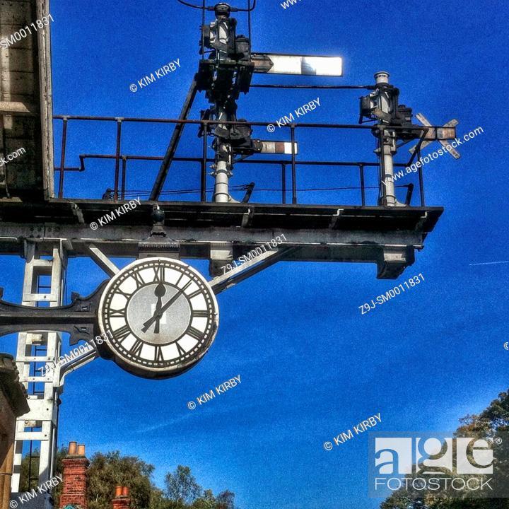Stock Photo: Station clock Grosmont North Yorkshire England UK United Kingdom GB Great Britain.