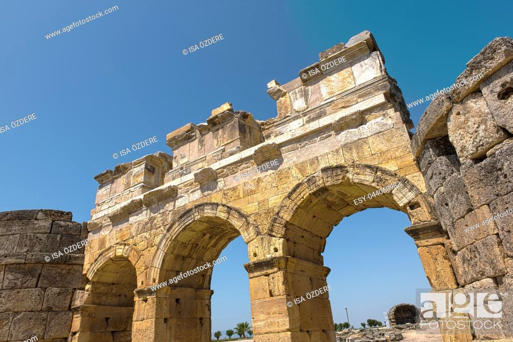 Stock Photo: The Byzantine Gate at Hierapolis ancient city in Pamukkale, Turkey.