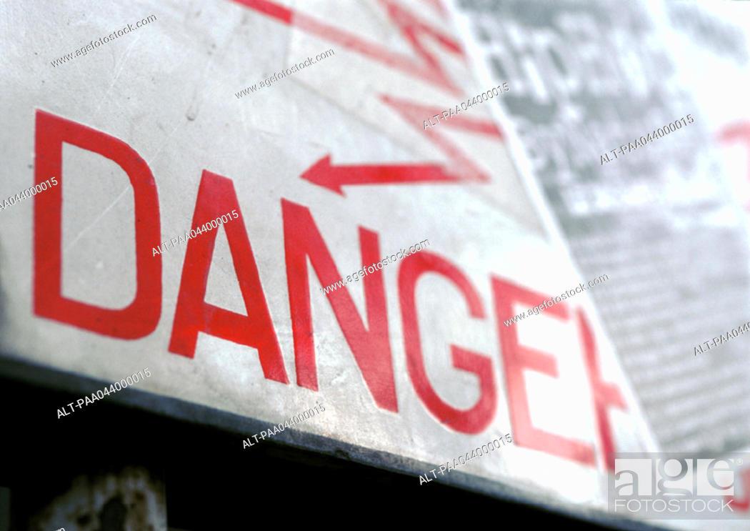 Stock Photo: Danger sign, close-up.