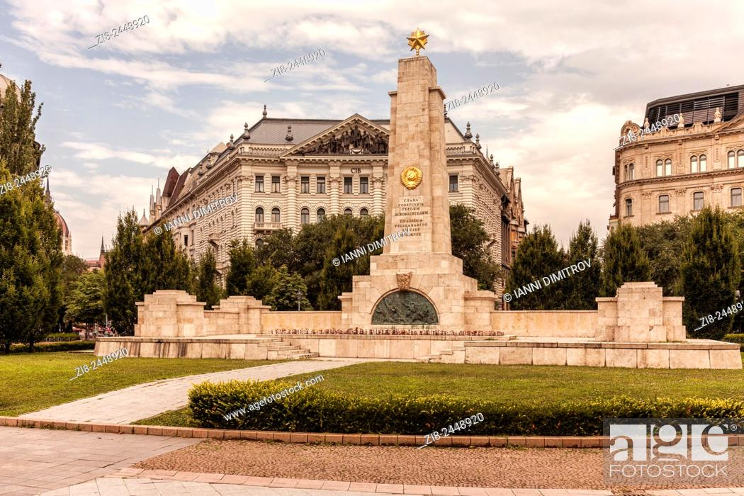 Stock Photo: Soviet Red Army memorial in Freedom Square, (Szabadság tér)Budapest, Hungary.