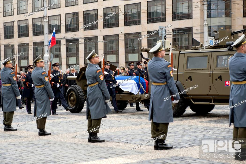 Stock Photo: The state funeral of former Slovak president Michal Kovac . The funeral procession with the coffin will move to the Presidential Palace from the castle in.