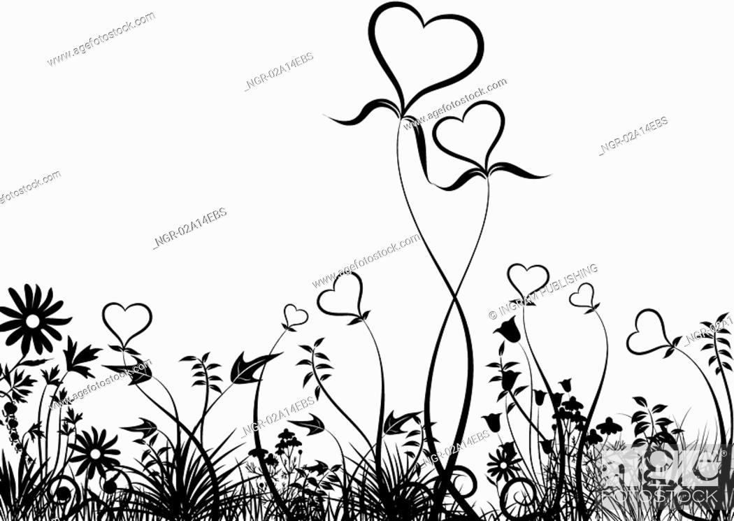 Stock Photo: Grass and hearts, vector.
