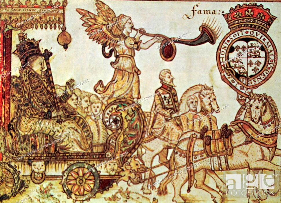 Stock Photo: Woodblock print depicting Queen Elizabeth I of England (1533-1603) Queen of England, riding in the Chariot of Fame. Dated 16th Century.