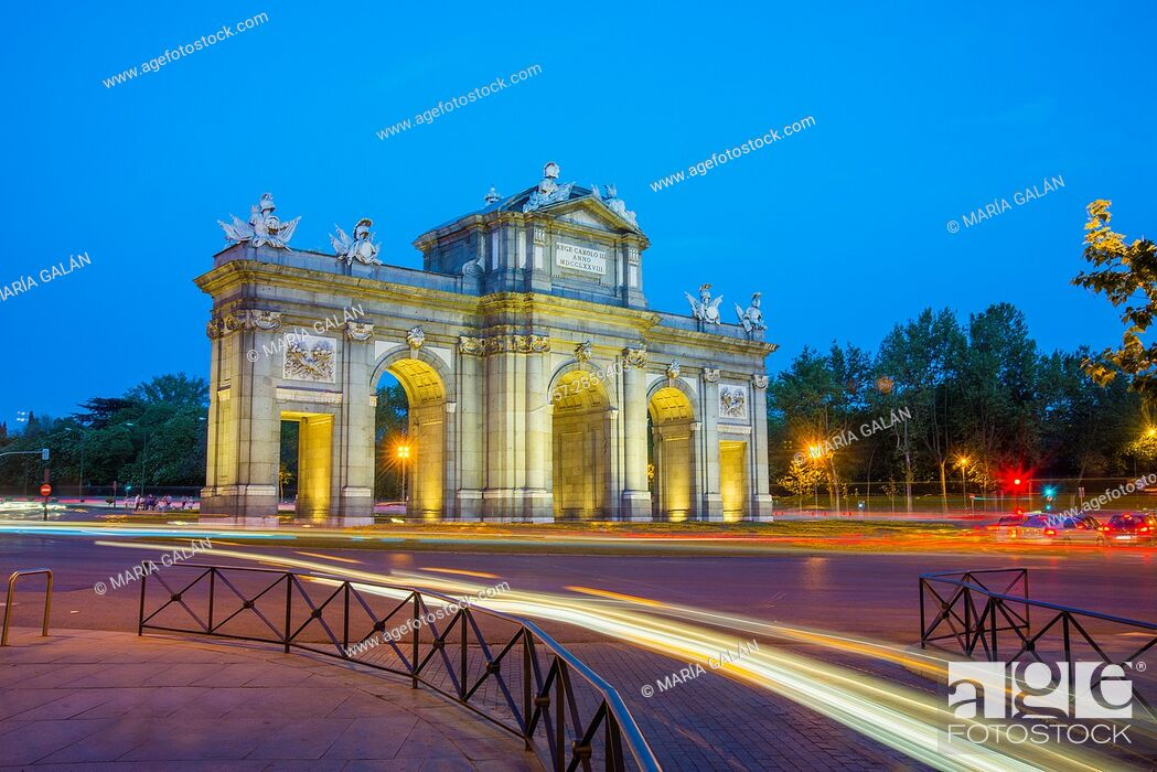 Stock Photo: Alcala Gate, night view. Madrid, Spain.