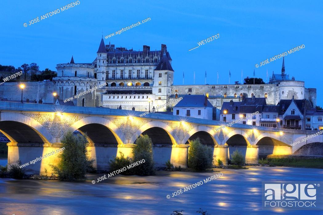 Stock Photo: Chateau d'Amboise castle at dusk, Amboise, Indre-et-Loire, Loire Valley, France.