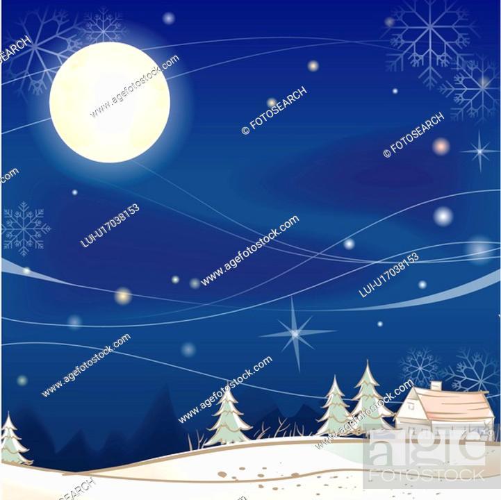 Stock Photo: house, season, snowing, snow, winter, tree, background.