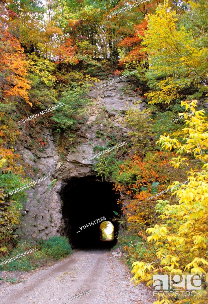 Stock Photo: Tunnel in Rocheport Missouri with light beyond on the Rails to Trails project, Missouri USA.