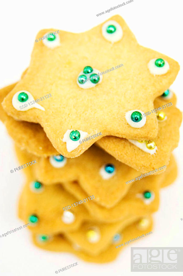 Stock Photo: Close-up of a stack of Christmas cookies.