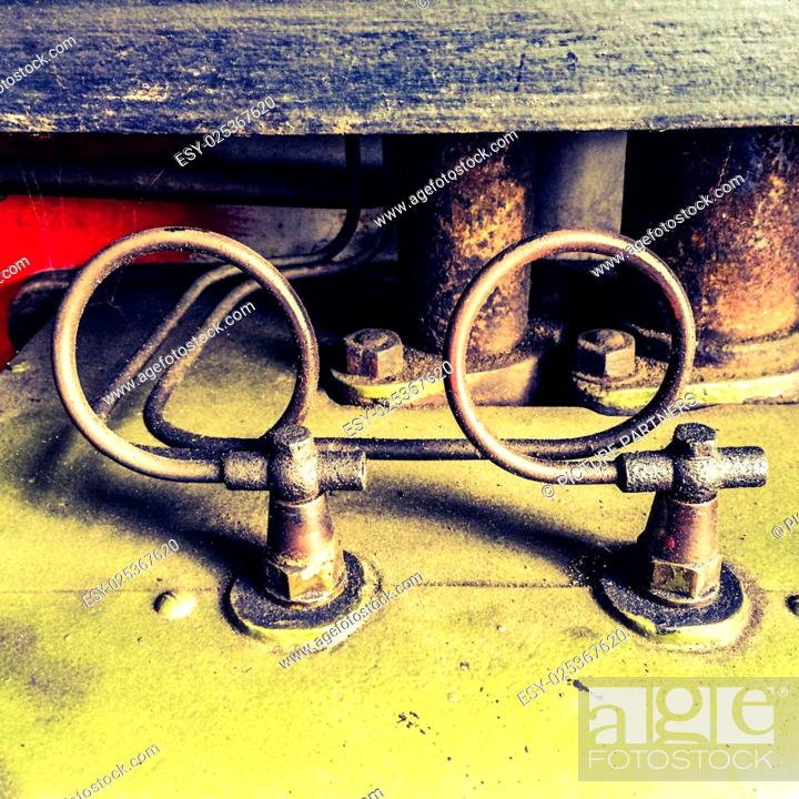 Stock Photo: Detail of pipe lines of a classic steam engine.