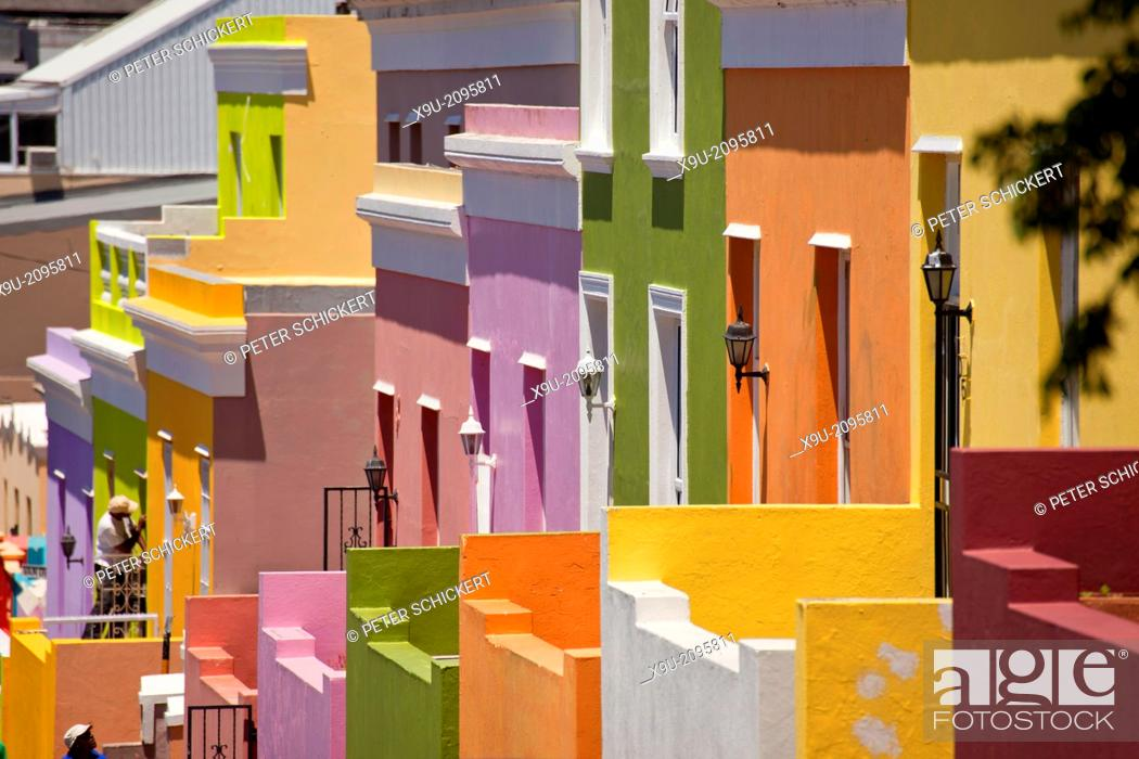 Stock Photo: typical coloured homes in the quarter Cape Malay Bo-Kaap, Cape Town, Western Cape, South Africa.