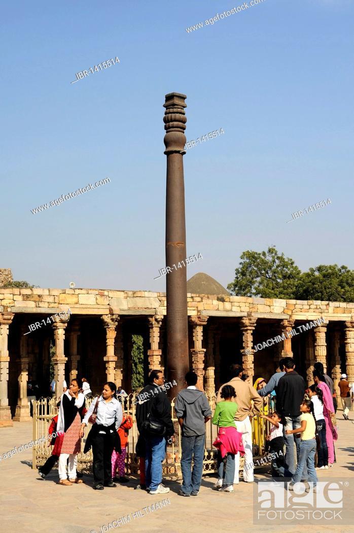 Stock Photo: Iron pillar, Qutb Complex, Mehrauli Archaeological Park, Delhi, Uttar Pradesh, North India, India, South Asia, Asia.