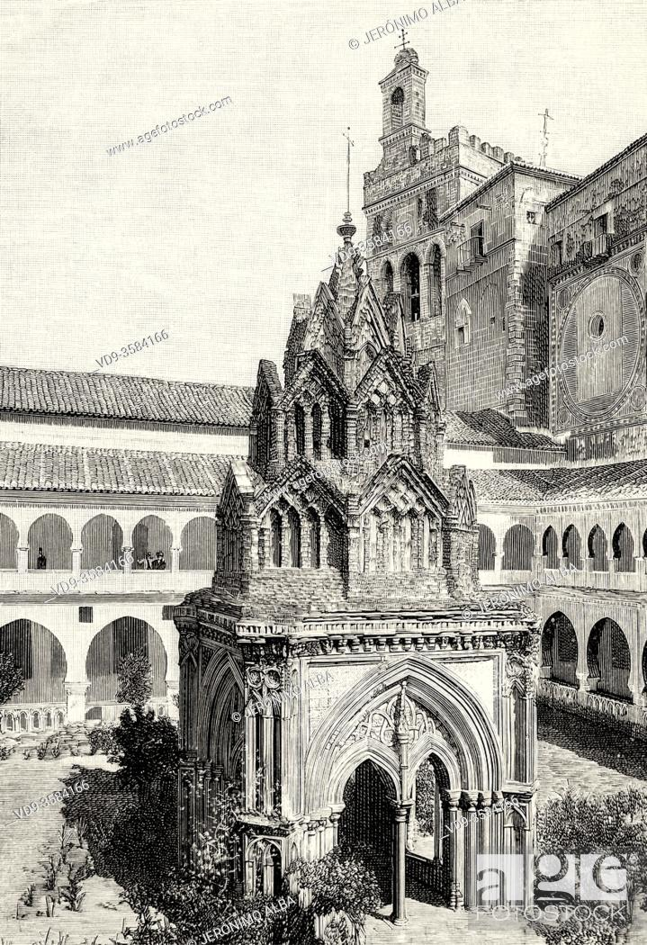 Photo de stock: Royal Monastery of Santa Maria de Guadalupe, Caceres province. UNESCO World Heritage Site. Extremadura, Spain. Europe. Old XIX century engraved illustration.