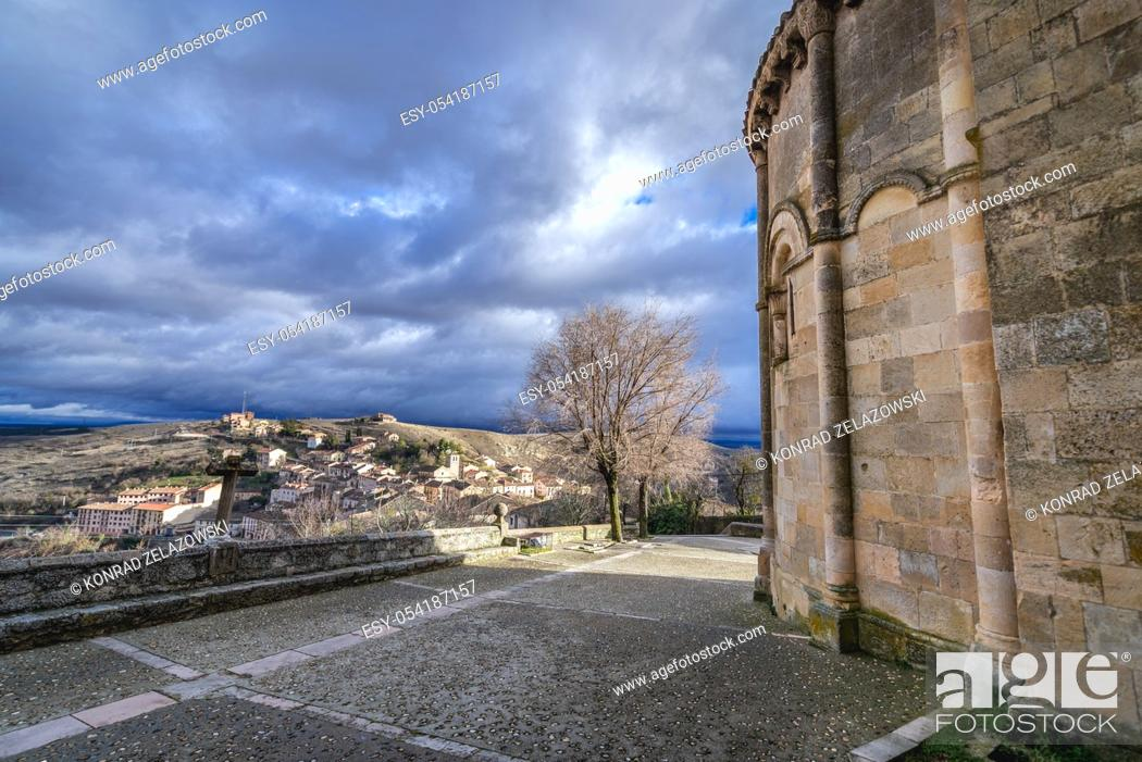 Stock Photo: Wall of Church of San Salvador (Holy Savior) Sepulveda town in Province of Segovia, Castile and Leon autonomous community in Spain.
