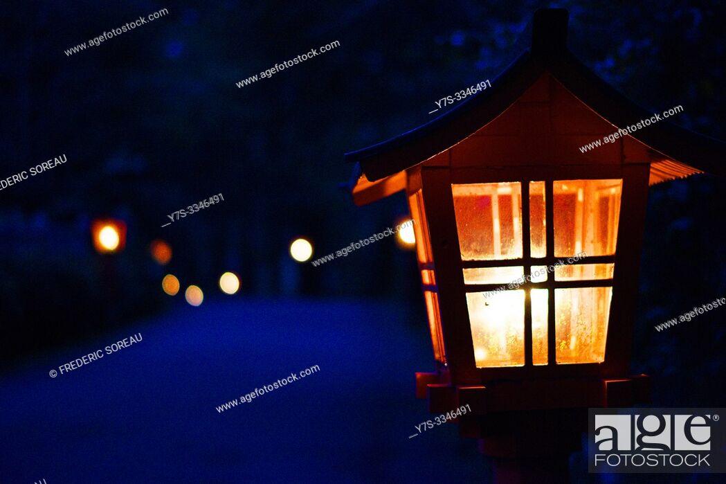 Stock Photo: Japanese lantern, Hakone Shrine tori, lake Ashinoko, Japan, Asia.