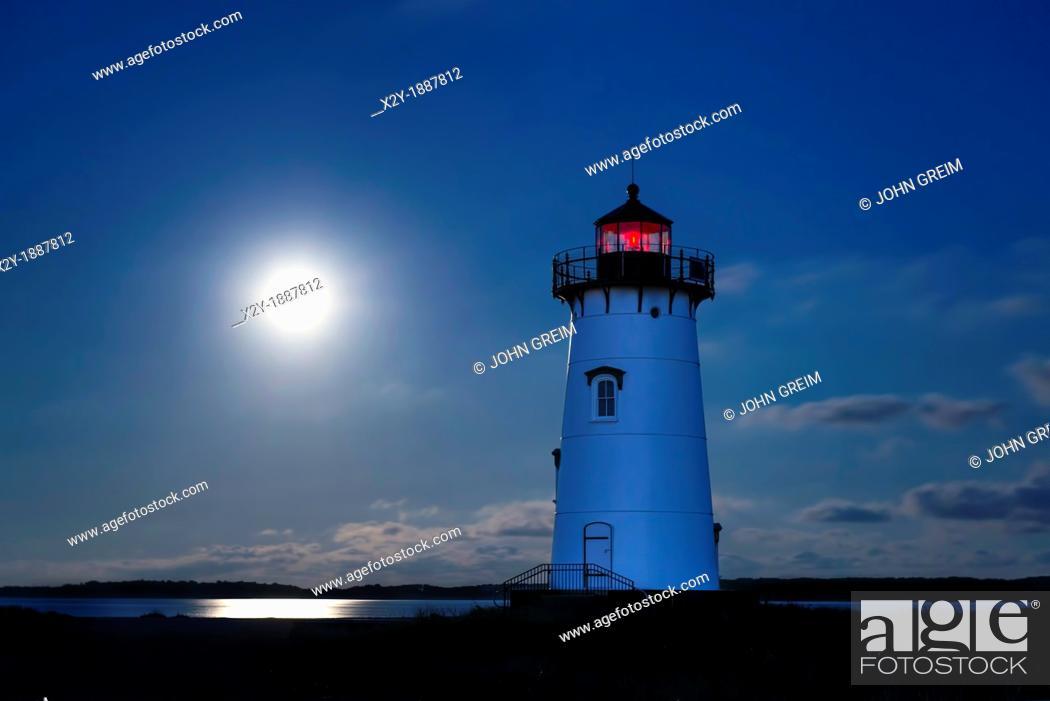 Stock Photo: Moon lit Edgartown Lighthouse, Martha's Vineyard, Massachusetts, USA.