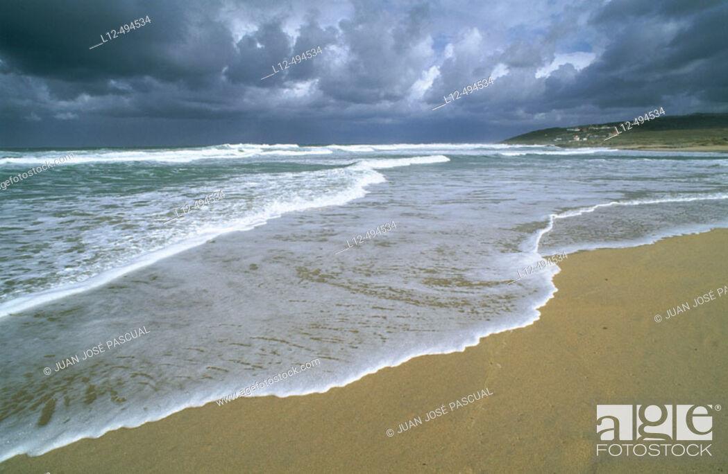 Stock Photo: Beach near Baldaio, Costa da Morte. La Coruña province, Galicia, Spain.