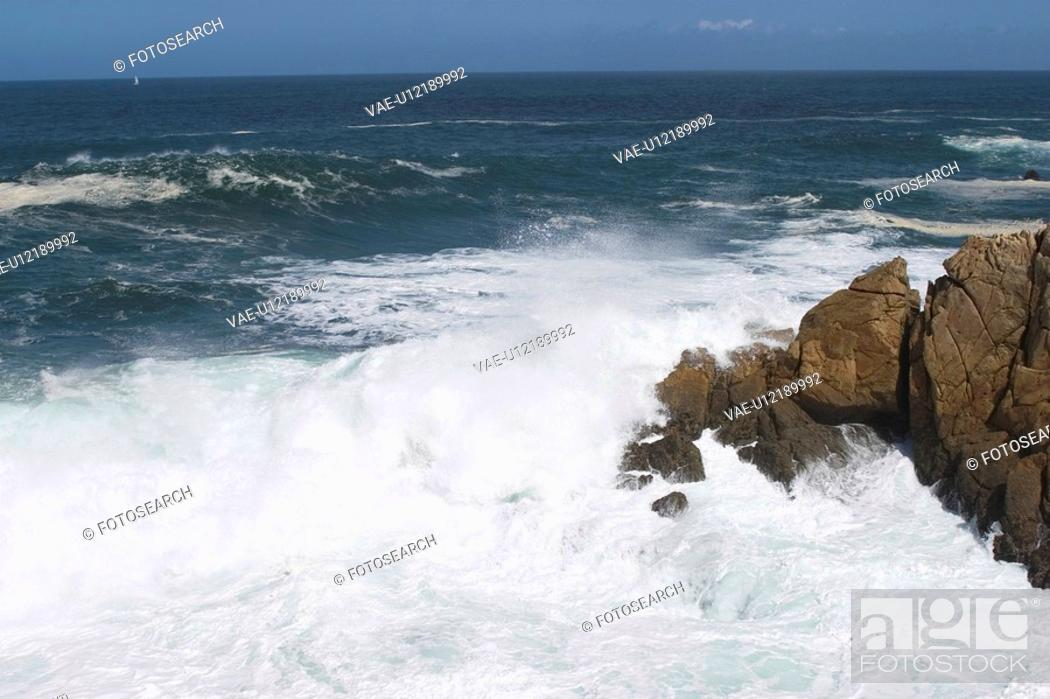 Stock Photo: rocks, stone, hard, wave, sea, ocean.