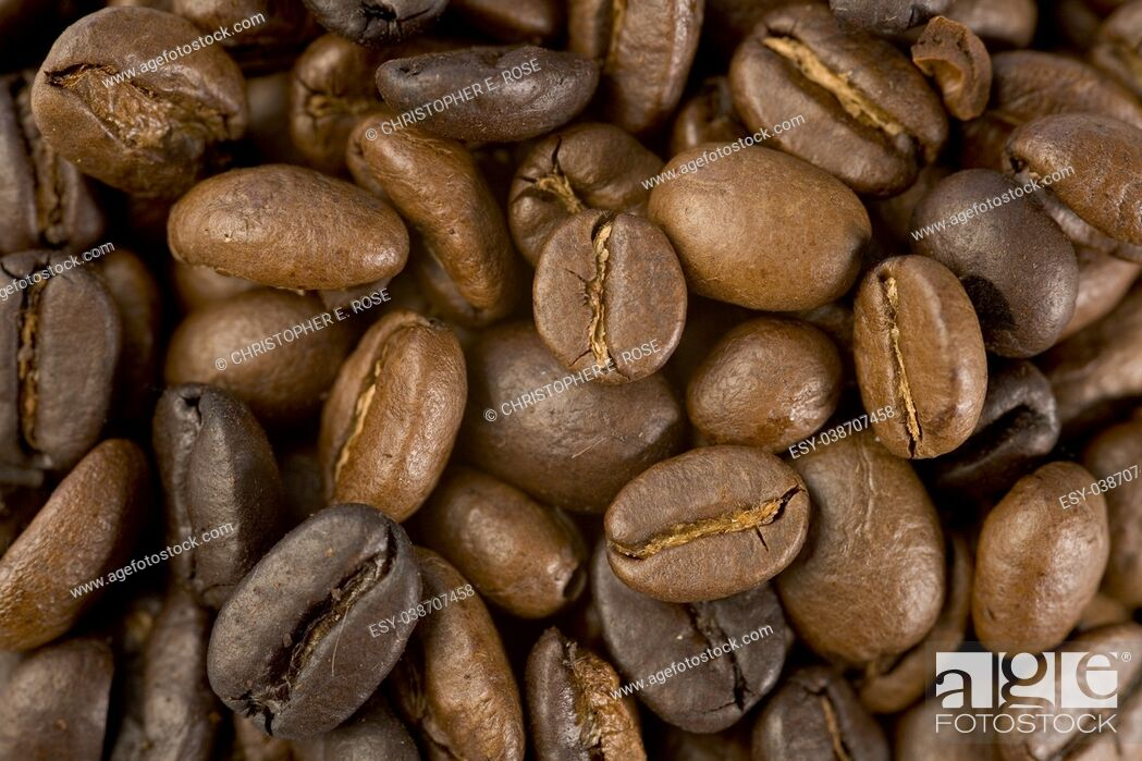 Stock Photo: Coffee beans close up texture.