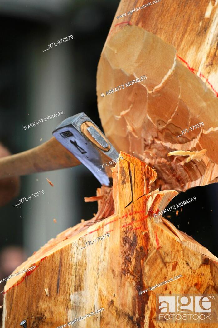 Stock Photo: Wood-chopping.