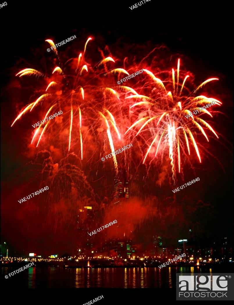 Stock Photo: landscape, nightview, scenery, event, fireworks, city, night.