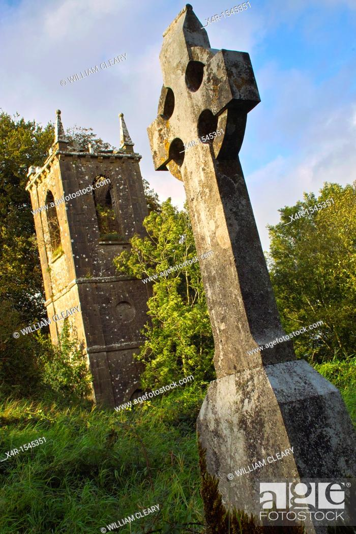 Stock Photo: Ruins of church, and old graveyard at Churchtown Cross, Loughnavalley, County Westmeath, Ireland.
