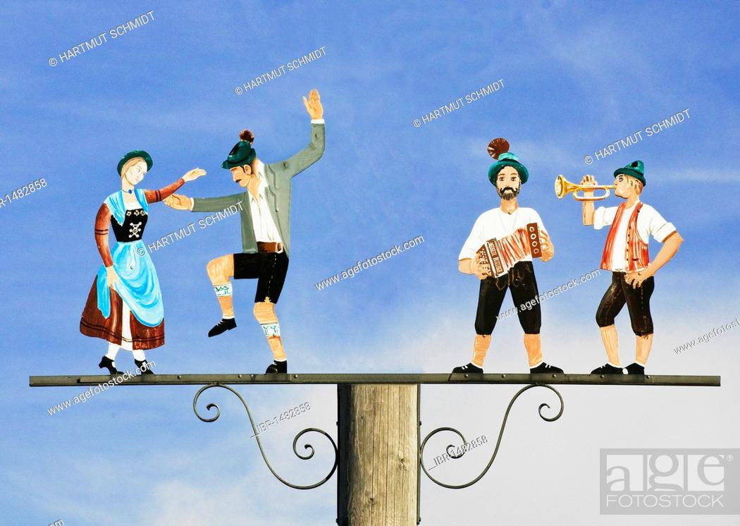 Stock Photo: Musicians and dancers, tradition, lovingly decorated depiction, Bavaria, Germany, Europe.