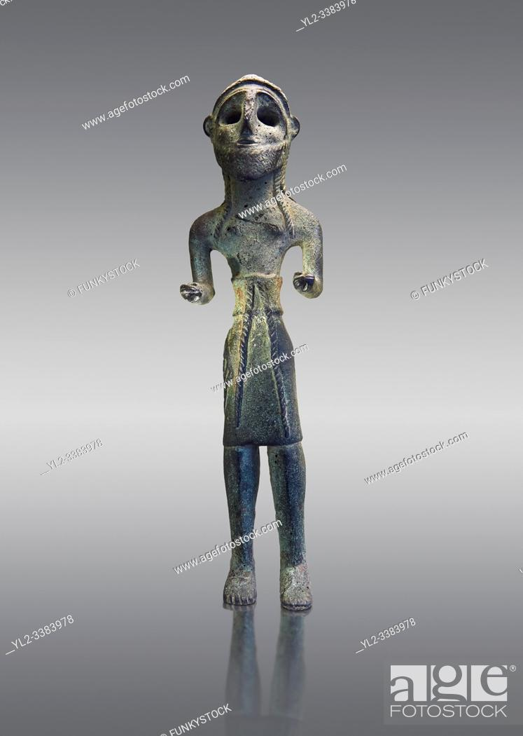 Stock Photo: Copper statuettes of warriors with a short loincloth which originally held weapons in their hands, as well as representation of a woman.
