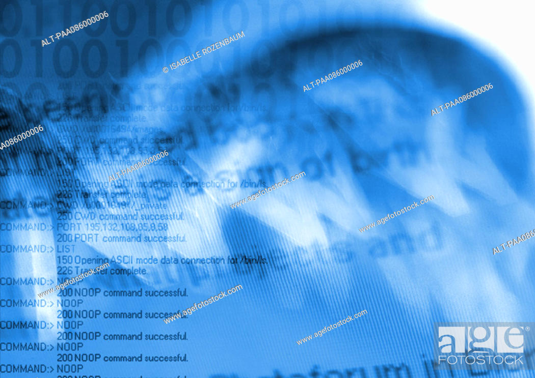 Stock Photo: Binary typography overlaying computer command code, blue.