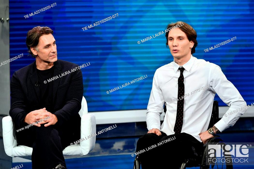 Stock Photo: The actor Raoul Bova, swimmer Manuel Bortuzzo attend at the tv show 'Porta a porta' , Rome, ITALY-21-10-2020.