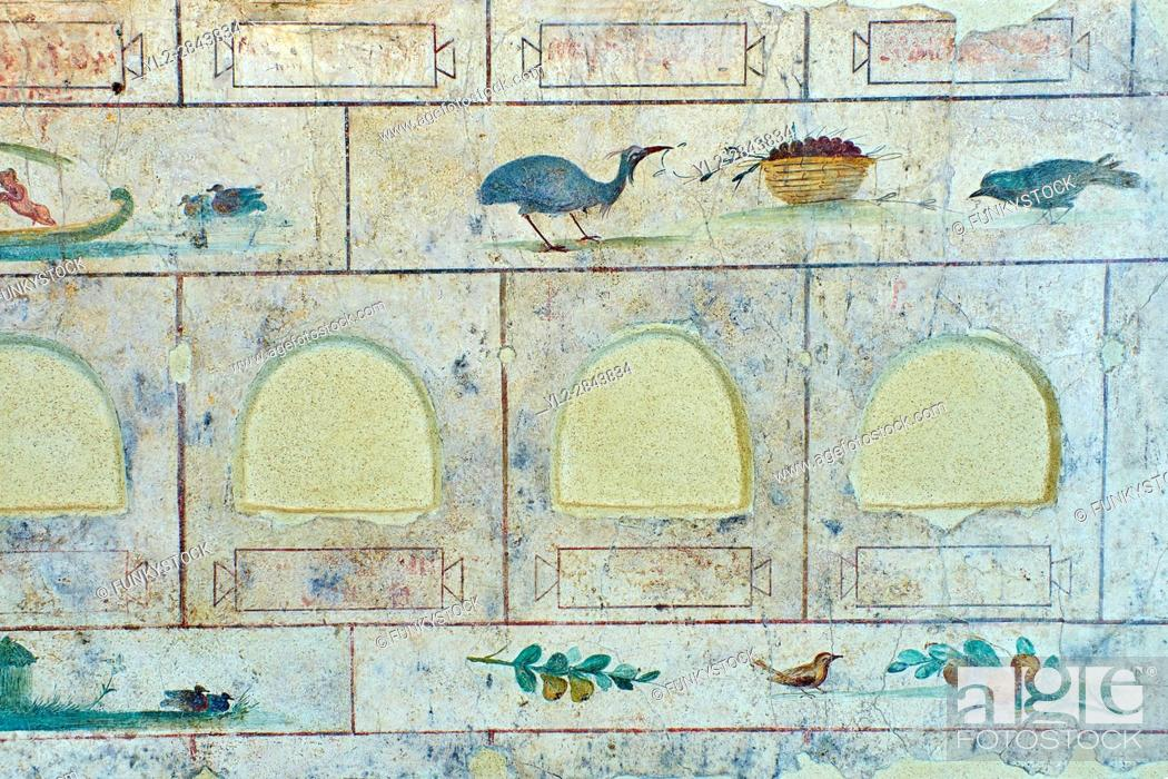 Stock Photo: Roman Fresco the The Large Columbarium in Villa Doria Panphilj, Rome. A columbarium is usually a type of tomb with walls lined by niches that hold urns.