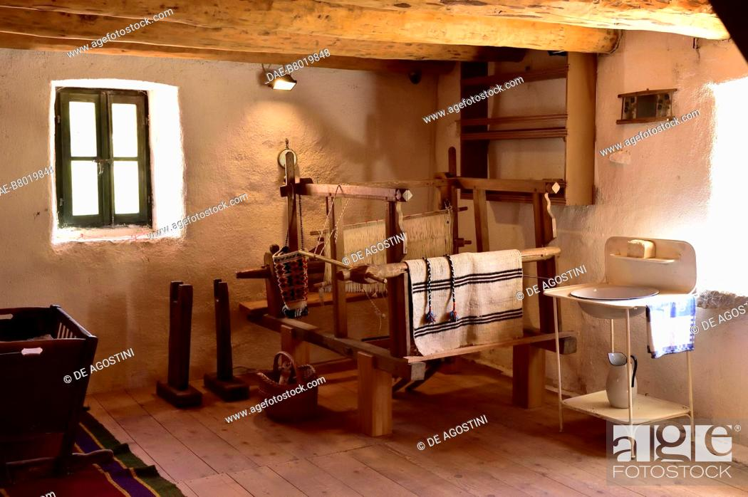 Stock Photo: Room with a loom for weaving, traditional house, Roski Slap, Krka National Park, Croatia. Roski Slap, Ethnographic Museum of Krka National Park.