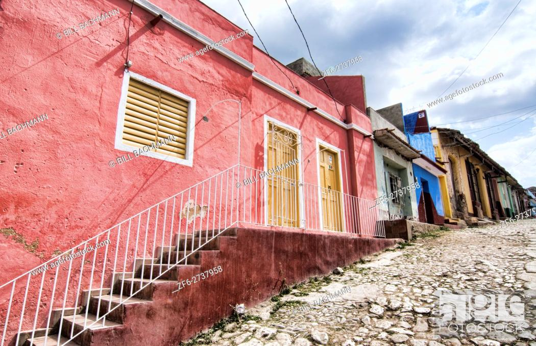 Stock Photo: Trinidad Cuba cobblestone street of second oldest city in Cuba as colonial town with colorful buildings.