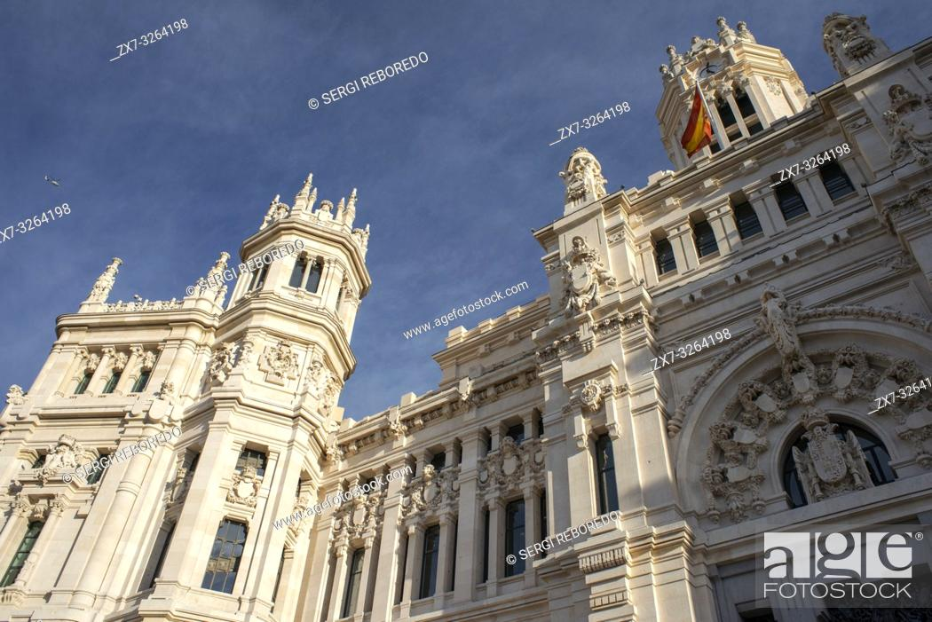 Palace Of Communications Viewed Over Plaza De Cibeles Madrid Spain